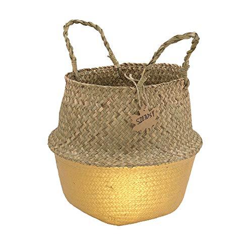 SZETOSY GOODCHANCEUK - Cesta de junco marino natural con asas para jardinería, soportes de flores, macetas, cestas de almacenamiento (doradas, 27 x 24 cm)