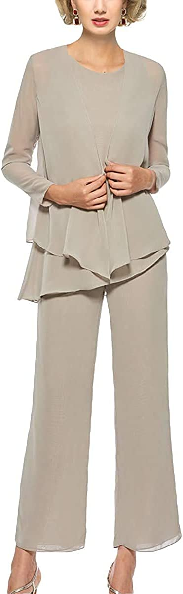 Pant Suits 3 Piece Chiffon Mother of The Bride Dress Long Sleeve Wedding Formal Dresses for Women