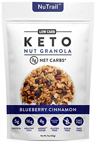 Low Karb - Keto Blueberry Nut Granola Healthy Breakfast Cereal - Low Carb Snacks & Food - 3g Net Carbs - Almonds, Pecans, Coconut and more (11 oz)