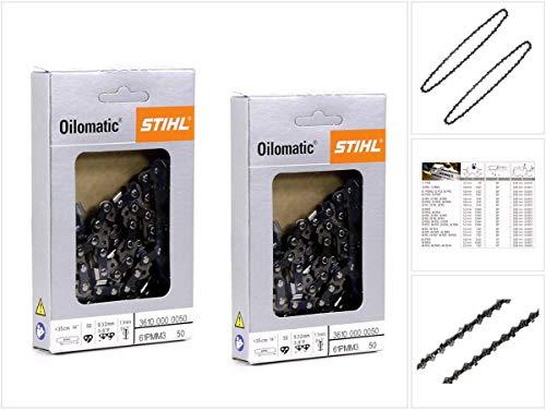 2x STIHL Oilomatic Sägekette Picco Micro Mini 3 (PMM3) Halbmeißel 3/8'P 1,1mm 35 cm (3610 000 0050)
