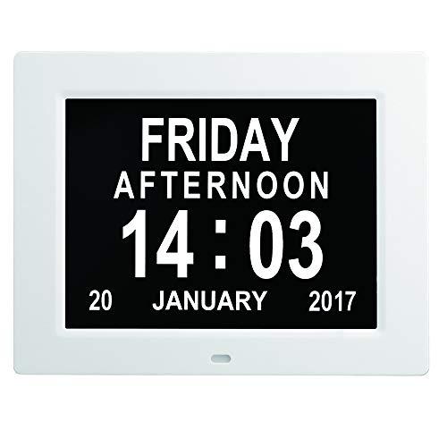 MIKLL Digital Wecker, Digital Kalender Tag Uhr, Groß Tischuhr/Wanduhr/Standuhr, Seniorenuhr mit Wochentag und Datum, Digitale Uhr für Senioren,Sehschwache & Demenzkranke (z.B Alzheimer)