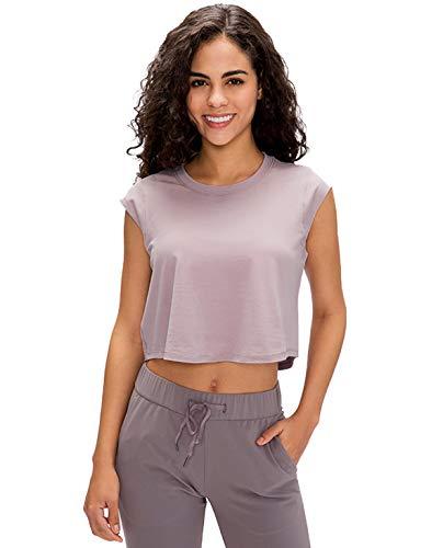 GOLDEN® Damen Yoga Sport & Fitness Tank Top, Workout Shirt Activewear Für Frauen Ärmellos Rundhals, Sporttop, Oberteil (Dawn Rosa, L)