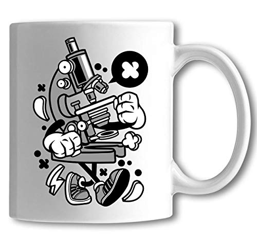 Iprints Cartoon Style Microscoop wetenschap Biology Art White Keramiek Thea Coffee Cup