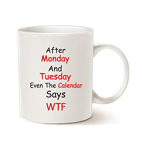 MAUAG Funny Quote Coffee Mugs, Monday, Tuesday, Best Christmas Gifts for Office Co-worker, Working...