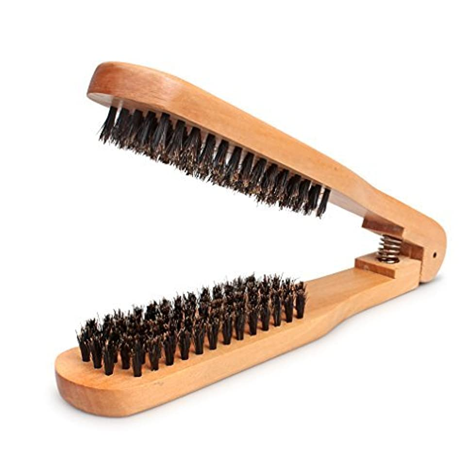 細心の突然スロープAmariver DIY Salon Hairdressing Hair Straightener Wooden Anti-static Dual-Brush Comb [並行輸入品]