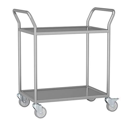 Krankenhauslaborwagen, Sauberer Werkzeugwagen, 201 Doppelschicht-Flachwagen Aus Rostfreiem Stahl, Fahrzeug Für Stille Medizinische Geräte