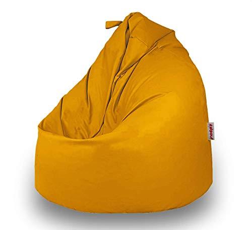 Italpouf Pouf Sacco Ecopelle Grande 90 Ø x 115, Poltrona Sacco Grande Pera, Pouf Sacco Imbottito, Pouf Ecopelle Sfoderabile (Pouf Sacco XL Grande, Giallo)