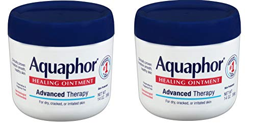 Aquaphor Healing Ointment - Moisturizing Skin Protectant for Dry Cracked Hands, Heels and Elbows, Use After Hand Washing - 14 oz. Jar - 2 Pack