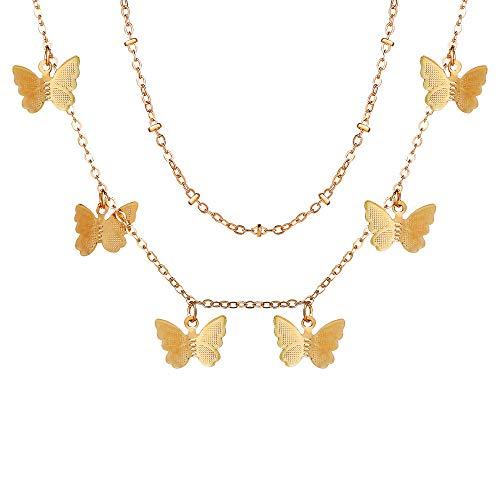 Collar con colgante de mariposa para mujer, oro rosa, delicado gargantilla con dijes de mariposa