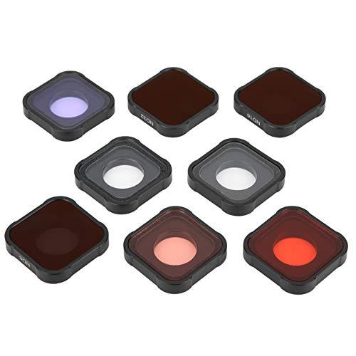 Filtro de Lente 8 en 1 Star UV Buceo Nocturno Rojo / Rosa Filtro ND8 / 16/32 Cubierta de Protección de Lente Reemplazable Alta Definición para Cámara Deportiva Gopro Hero9 Aleación de Aluminio