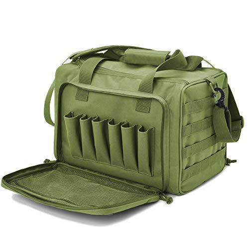Tactical Gun Shooting Range Bag, Deluxe Pistol Range Duffle Bags Army Green