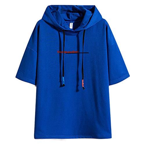 VANMO Herren Hoodie,2020 Neu Herren Herbst Sommermode Farbe Kollision Patchwork Hoodie T-Shirts Halbarm Tops Lose Persönlichkeit Sweatshirt Einfarbiger Buchstabe Hoodie