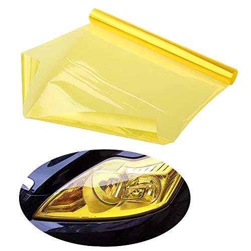 Guanici Scheinwerferfolie Tönungsfolie Wasserdicht Auto Scheinwerfer Folie Tönungsfolie Nebelscheinwerfer Autoteile für Auto Scheinwerfer Rückleuchten Blinker Nebelscheinwerfer (Gelb,30 * 120 cm)
