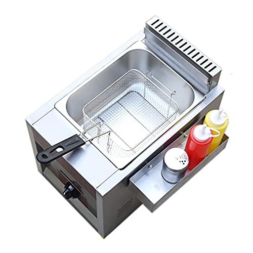 SBJ Freidora de Gas de 8L / 16L, Freidora de Encimera de Acero Inoxidable, con Cesta, Cocina Casera para Restaurante