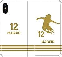 【全機種対応】 サッカー iPhone Xperia Galaxy 楽天Mobile UQ Yモバ Android Android シルエット スマホケース 手帳型 カバー(ホーム/マドリッド:12番_A) 05 iPhone7