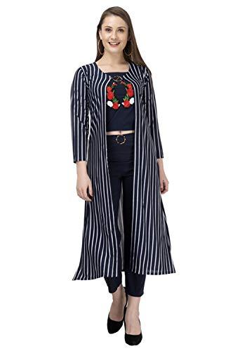Neysa Women's Striped hosiery Maxi Jumpsuit (Navy, Medium)