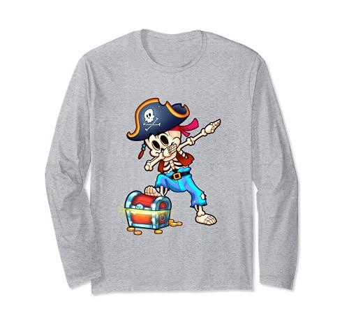 Esqueleto Dabbing Pirata Divertido Halloween Manga Larga