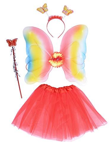 EZSTAX LED Ala de Mariposa 4pcs Disfraz Luminoso de Mariposa para Niñas