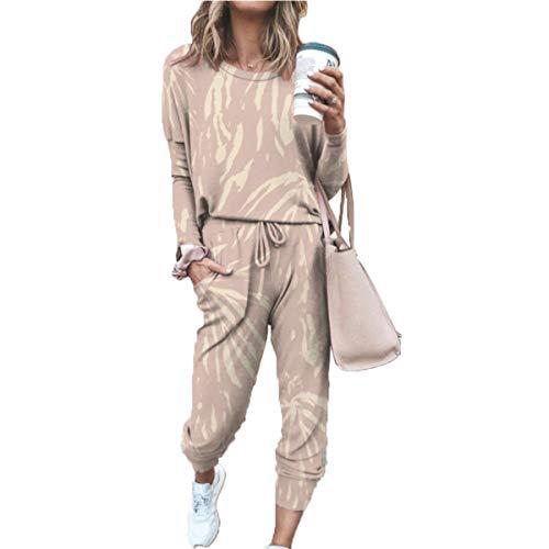 Hiser Damen Pyjama Set, Schlafanzüge Baumwolle Outfit Set Lange Ärmel Bluse + Hosen, Nachtwäsche Homewear, Weich Bequem und Schön Langarm Hausanzug (Khaki,S)