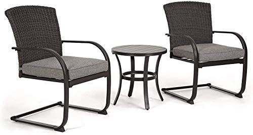 Aoboco Grand Patio Outdoor Bistro Set with Cushioned Wicker Spring Chairs and Metal Side Table 3 Piece Bistro Sets
