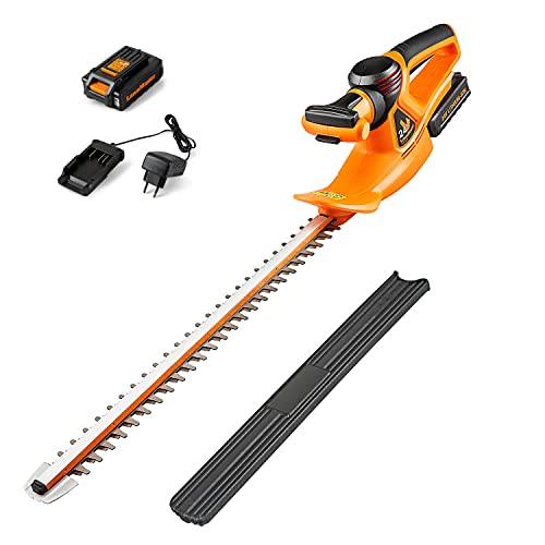 LawnMaster CLHT2452 Cortasetos a Bateria 24V 2,0Ah Tijeras Cortasetos de Batería de Litio, Longitud de Hoja 52 cm, Distancia Entre Hoja 15mm, Hoja de Láser de Doble Acción,Peso Ligero