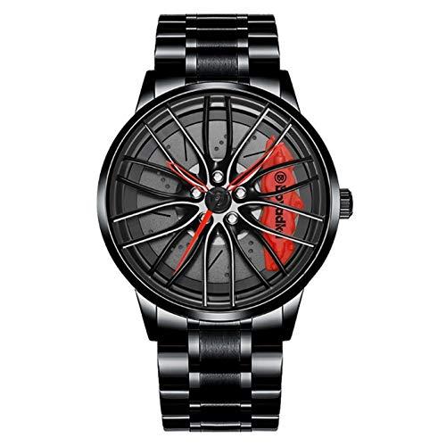 GHSY ZANLION Herren Uhren, Auto Rad Felgen Nabe Uhr, Hohl wasserdicht Sport Uhr für Herren Geschenke Armbanduhren (rot)