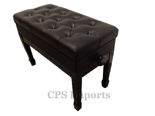 Cheap Genuine Leather Adjustable Duet Size Artist Piano Bench Stool in Ebony with Music Storage