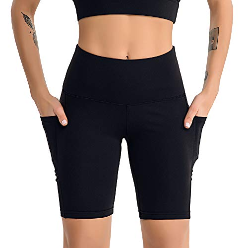 YLBH Yoga Kleidung Weiblich Yoga FüNf-Punkt-Hosen Sport Fitness Seite Handy Tasche Fitness Shorts Weiblich Sporthose Damen Yogahosen FüR Damen Elastische Schwarz XL