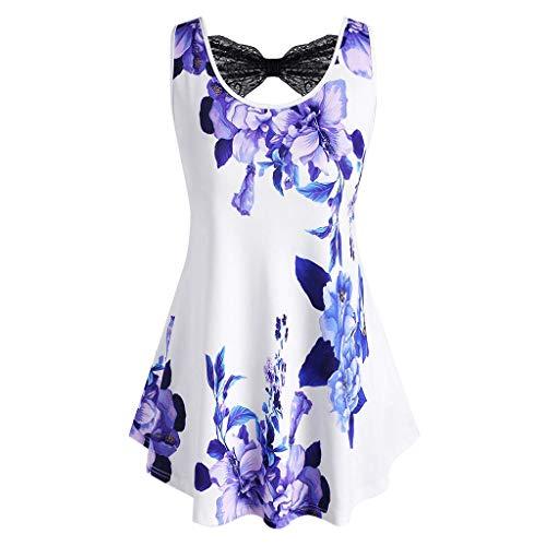 KIMODO Damen Bikini Set Neckholder Ärmellose Bluse Badeanzug Zweiteiliger Gefüllter BH Badebekleidung Beachwear Loose Cami Tank Top Shirts (Weiß-A, XXL)