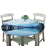 DTGSD Tablecloth Round Table Cloth Elastic Edged Outdoor Round Table Cloth Decorative Fabric Table Cover for Outdoor and Indoor Use (Bridge,60 inch)