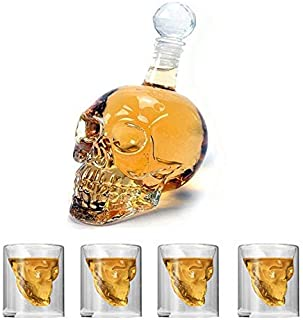 Beauenty Set of 1 Piece Crystal Head Skull Bottle 500ml and 4 Pieces Shot Glasses
