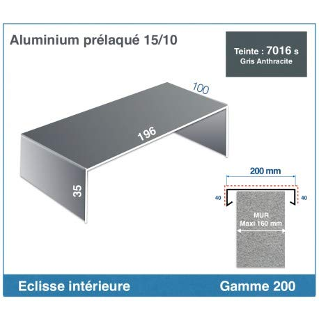 ECLISSE INTERIEURE DE COUVERTINE ALUMINIUM (GAMME 200, RAL 7016 SATINE GRIS ANTHRACITE)