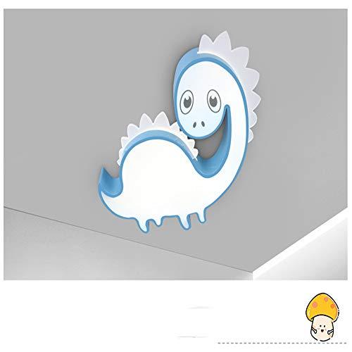 Dimbare plafondlamp, karikatuur, kinderslaapkamerlamp, dinosaurus, leuke baby-kamerlampen, kleuterschool, klaslokaal, led-licht met afstandsbediening (blauw), 55 cm