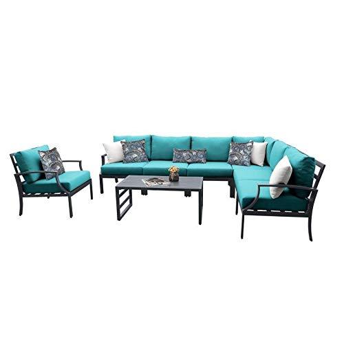 TK Classics Lexington 8 Piece Aluminum Patio Furniture Set 08d in Aruba
