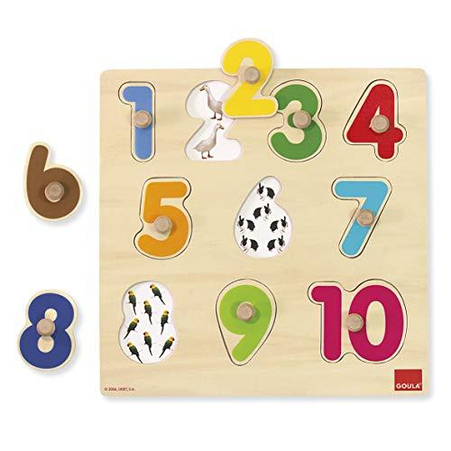 Goula- Numbers Puzzle encajes madera números Goula28x28 (Diset 53074) , color/modelo surtido (Juguete)