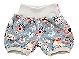 Kleine Könige Kurze Pumphose Baby Mädchen Shorts · Modell Blumen Birds grau, hellgrau · Ökotex 100 Zertifiziert · Größe 98/104
