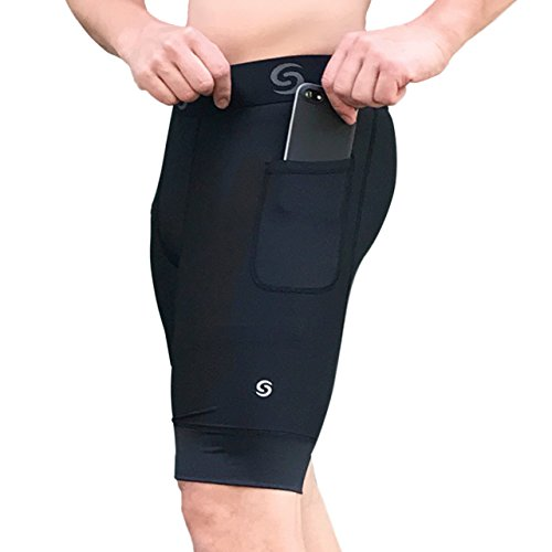 Men's Underwear Compression Shorts - Base Layer Tights for Running, Crossfit, Weightlifting Training Shorts with Side Pockets Compression Short Men (Medium) Black