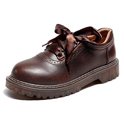 Women's Leather Classic Shoe Vintage Lace Up Oxford Dress Shoes (Brown 2, Numeric_7)
