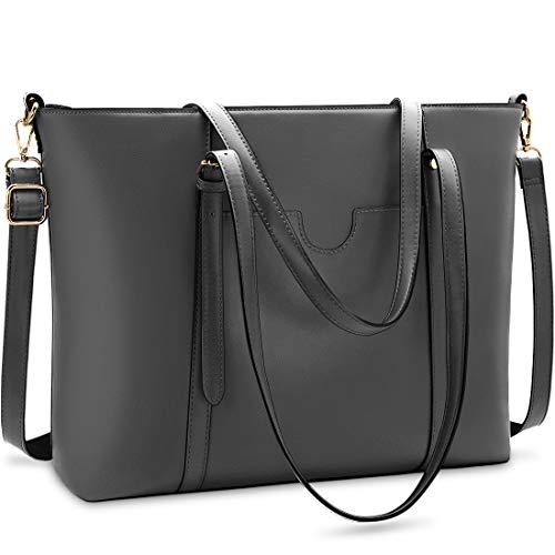 NUBILY Handtasche Shopper Damen Groß 15.6 Zoll PU Leder Shopper Grau Laptop Umhängetasche Gross Business Aktentasche Frauen Retro Schule Taschen
