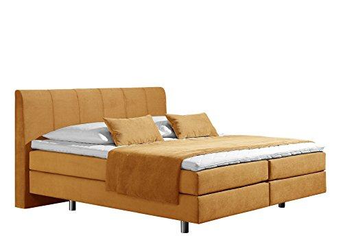 Maintal Boxspringbett Montepellier, 180 x 200 cm, Strukturstoff, 7-Zonen-Tonnentaschenfederkern Matratze h3, gelb