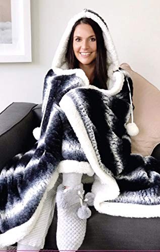 TEXTILE ARENA CHARCOAL HOODED SNUGGLE BLANKET SUPER SOFT FLEECE SHERPA REVERSE 130CM X 180CM