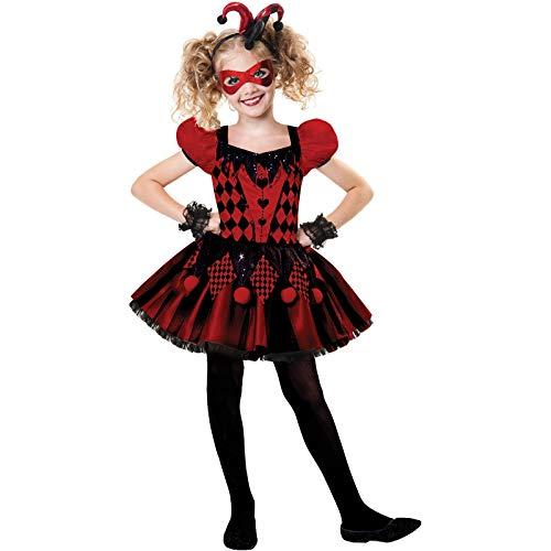 amscan Déguisement Enfant Fille Arlequin Robe Rouge noire Halloween