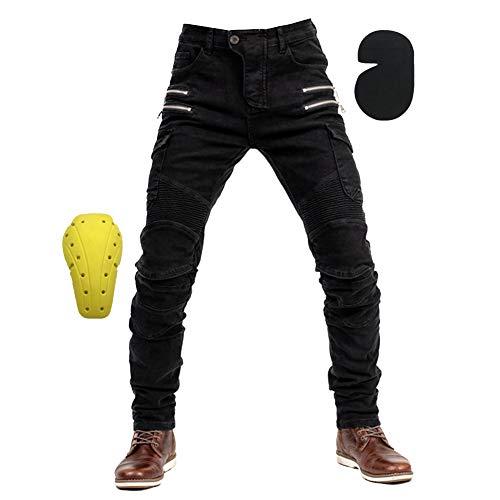 Schwarze Motorradhose mit Protektoren, für Sommer und Winter, auch in Kurz- und Übergrößen,Schwarz 1,M