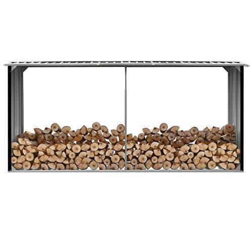 "INLIFE Garden Log Storage Shed,Galvanized Steel Multi-Use Shed with Firewood Storage,Firewood Storage Rack for Garden,Farm 129.9""x36.2""x60.2"""