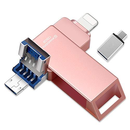 PHICOOL - Memoria USB de 128 GB, 4 en 1, almacenamiento externo para iOS 8.0 + iPhone iPad, USB C Android Samsung/HUAWEI/XIAO MI/ONEPLUS, PC MAC ordenador portátil, color rosa