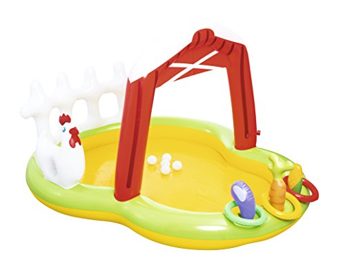 Bestway H2OGO! Farm-Themed Inflatable Play Center Toddler Pool | Includes Ring Toss Game, Inflatable Toy Vegetables, Plastic Balls, & Water Sprayer