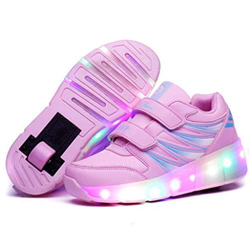 IDE Play Unisex LED Strisce Roller Shoes Skate con Ruote Singole Inline Skateboarding Vibrazioni Lampeggiante Ginnastica delle Scarpe da Tennis all'aperto Scarpe Sportive,Rosa,34