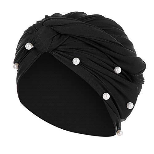 Frauen Hut Muslim Stretch Turban Chemo Cap Haarausfall Kopftuch Wrap Hijab Elegante Stange Gefaltete Kopf Schal Krebs MüTze HäKeln Beanie Slouchy Unisex Caps StrickmüTze (Freie Größe, ✿Schwarz)