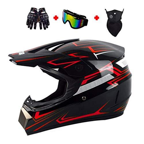 MCRUI Motocicleta Damas Casco De La Motocicleta Todo Terreno Casco con Gafas Guantes Máscara Descenso De Velocidad Casco Casco De Motocross Adultos,B,XL