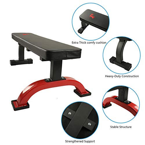 YESJOY Flat Weight Bench- 600 lbs Capacity Home Gym Workout Bench for Weight Training and Abs Exercises (Extra Thick Back Cushion pad)